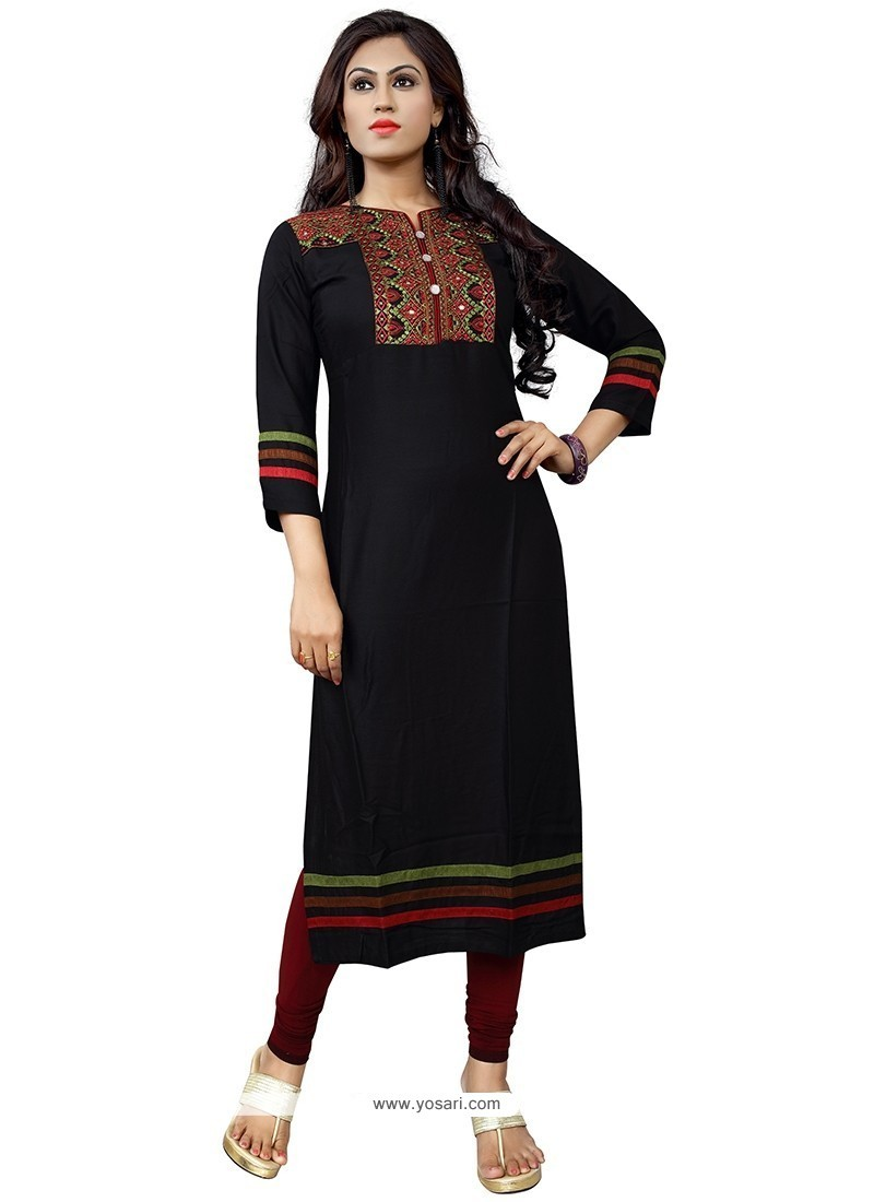 Embroidered Cotton Party Wear Kurti In Black