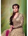 Dia Mirza Beige Premium Net Anarkali Suit
