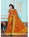 Subtle Patch Border Work Tussar Silk Designer Saree