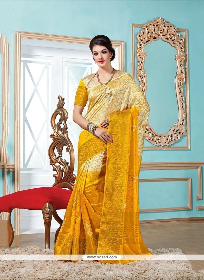 Mystical Mustard Patch Border Work Tussar Silk Designer Saree