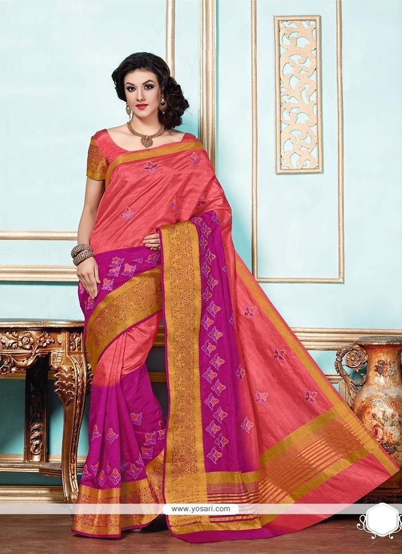 Enticing Hot Pink Patch Border Work Designer Saree