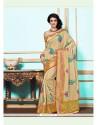 Sparkling Beige Tussar Silk Designer Saree