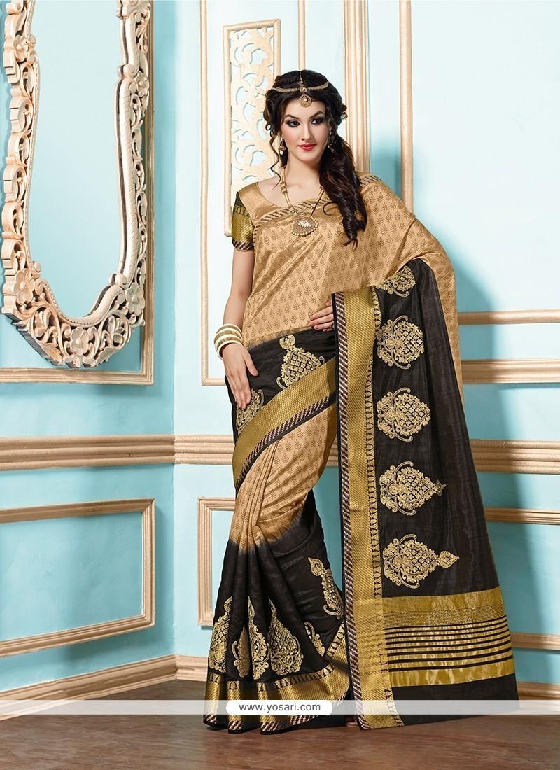 Astounding Tussar Silk Beige And Black Designer Saree