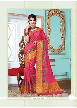 Glossy Tussar Silk Hot Pink Designer Saree