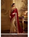 Luxurious Beige Patch Border Work Georgette Classic Designer Saree