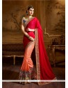 Dazzling Georgette Red Classic Designer Saree