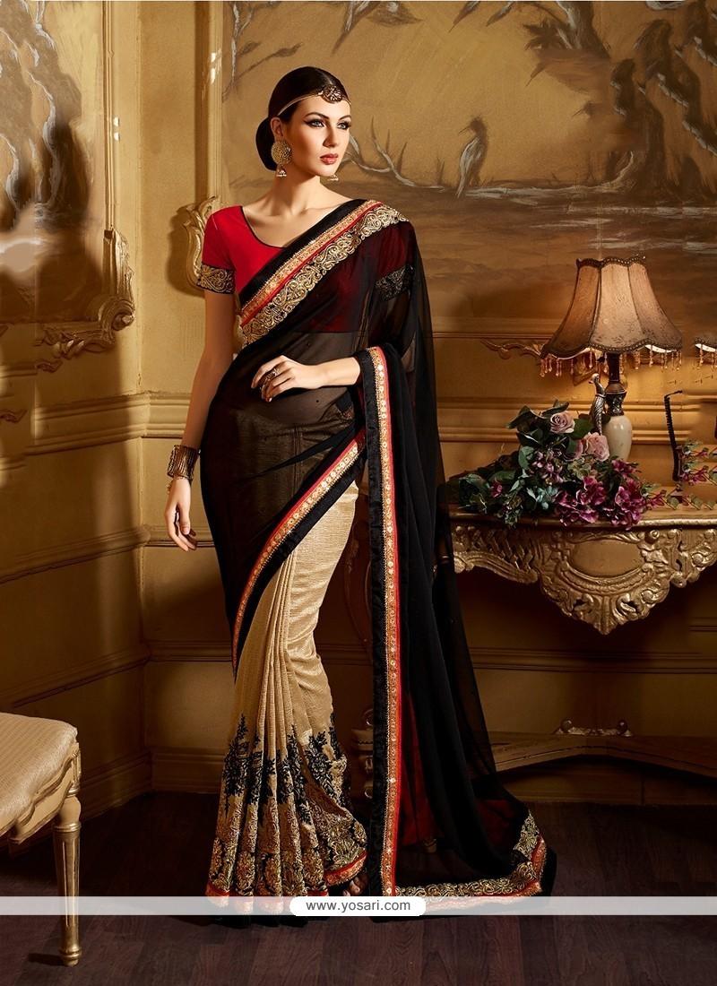 Stunning Beige Embroidered Work Georgette Classic Designer Saree
