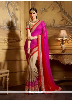 Graceful Embroidered Work Hot Pink Classic Designer Saree