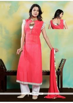 Superb Rose Pink Embroidered Work Designer Suit