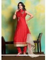 Patch Border Art Dupion Silk Designer Suit In Red