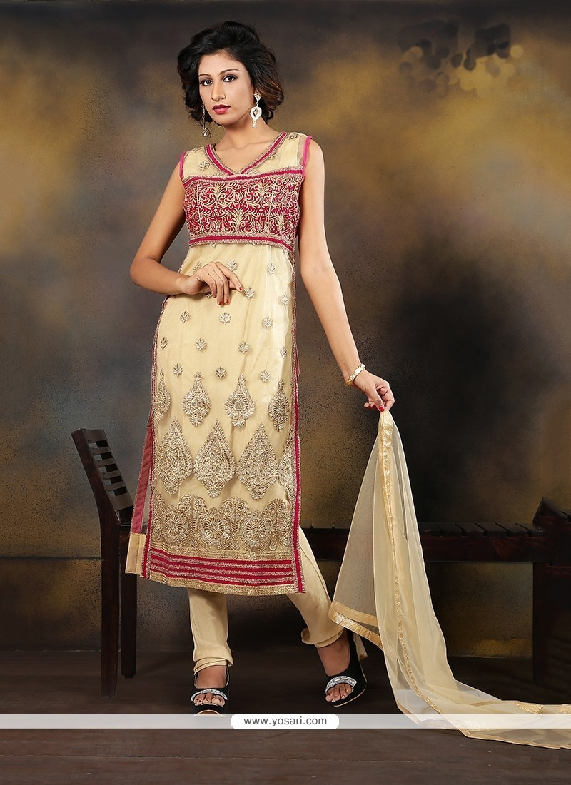 Deserving Embroidered Work Velvet Cream Designer Suit