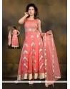 Blooming Net Rose Pink Embroidered Work Anarkali Salwar Kameez