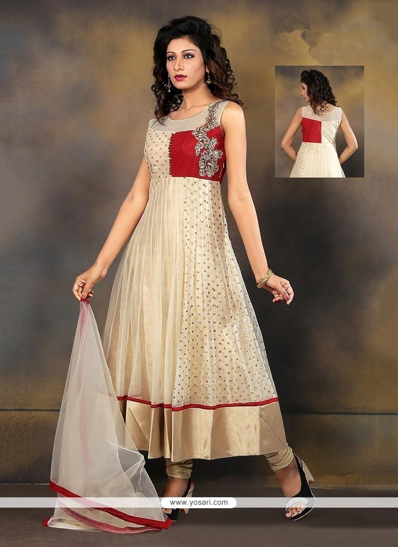 Lovely Beige Embroidered Work Fancy Fabric Anarkali Salwar Kameez