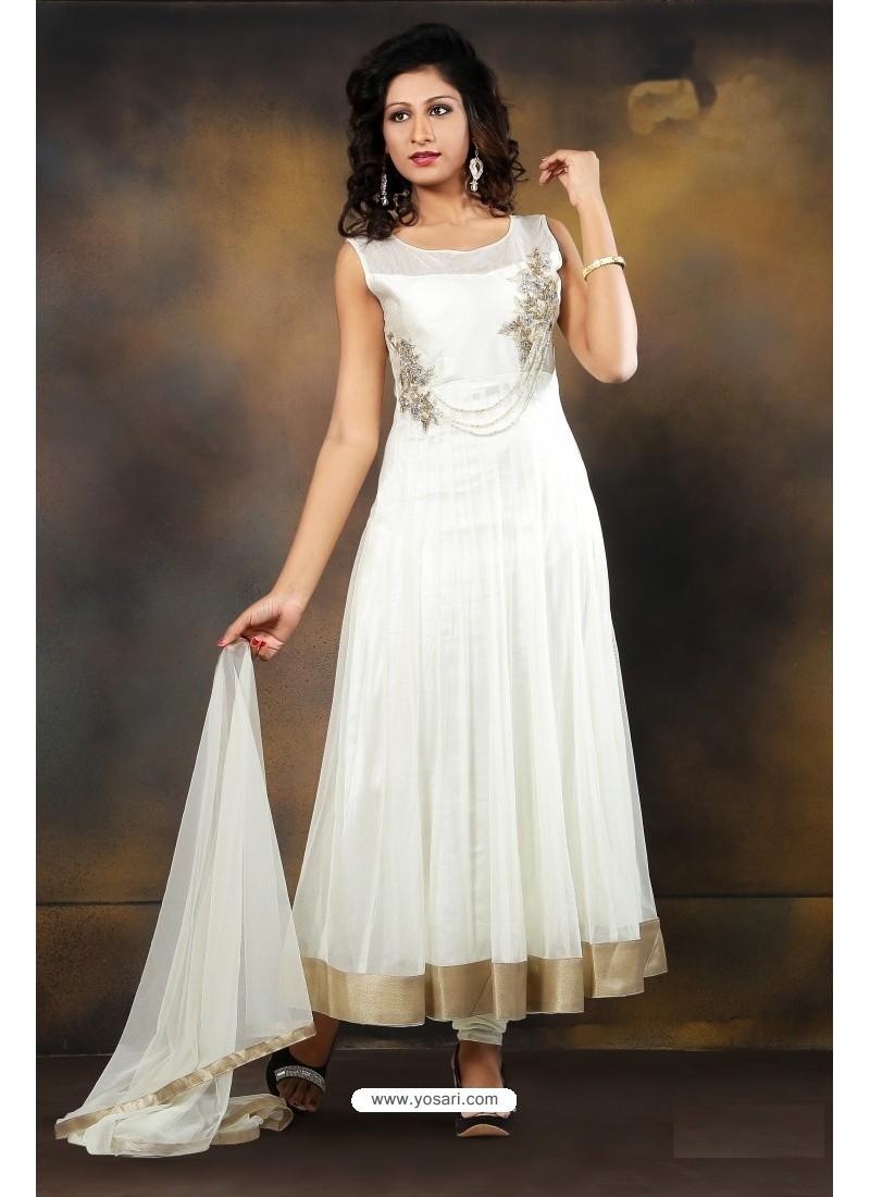 Enchanting Net Off White Anarkali Salwar Kameez