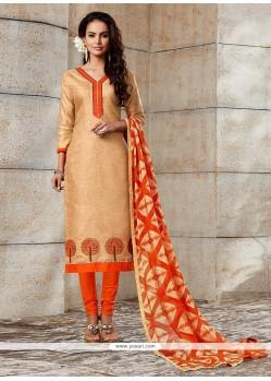 Integral Beige Embroidered Work Chanderi Churidar Designer Suit