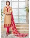 Innovative Beige Embroidered Work Churidar Designer Suit