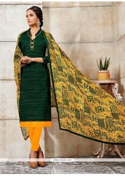 Magnetize Embroidered Work Green Chanderi Churidar Designer Suit