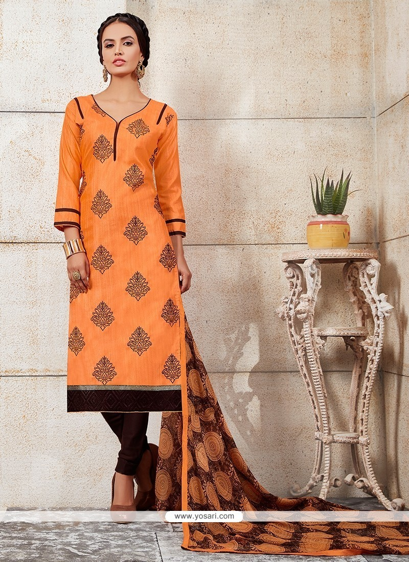 Elegant Embroidered Work Orange Chanderi Churidar Designer Suit