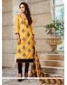 Auspicious Chanderi Embroidered Work Churidar Designer Suit