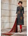 Beckoning Grey Embroidered Work Churidar Designer Suit