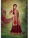 Dia Mirza Maroon Silk Designer Lehenga Choli