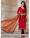 Captivating Embroidered Work Chanderi Churidar Designer Suit
