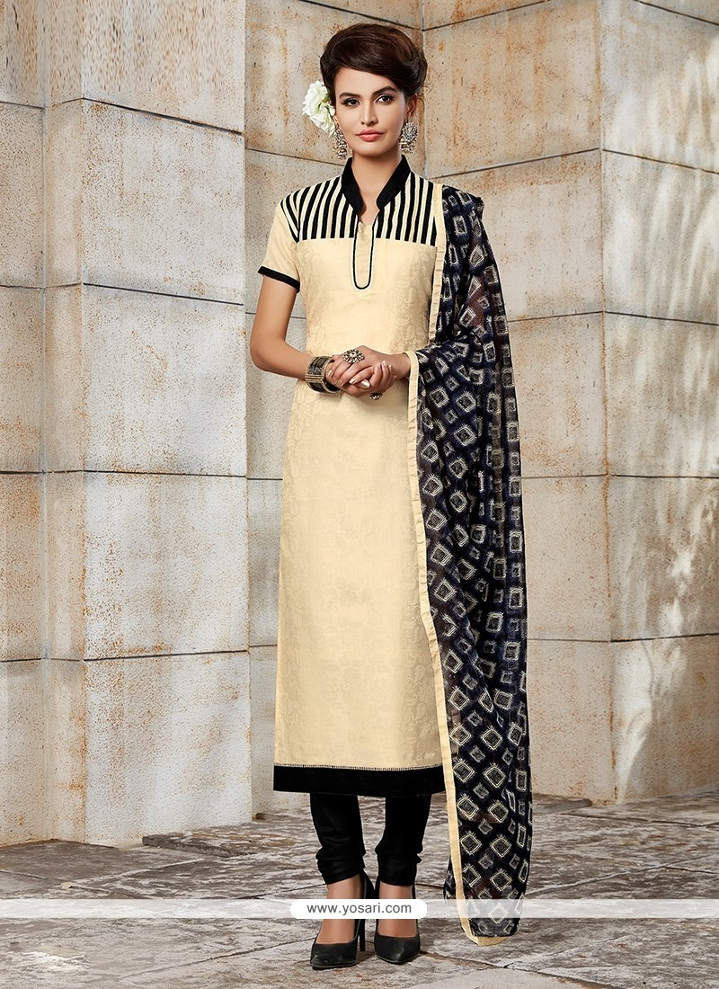 Lavish Embroidered Work Beige Churidar Designer Suit