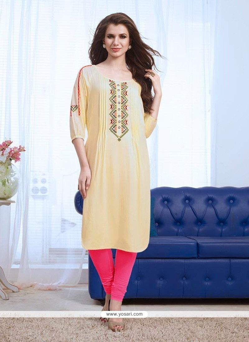 Aesthetic Embroidered Work Rayon Party Wear Kurti