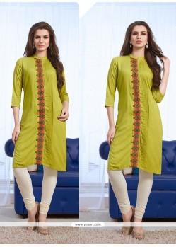 Entrancing Green Embroidered Work Party Wear Kurti