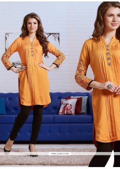 Sonorous Embroidered Work Yellow Rayon Party Wear Kurti