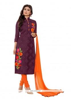 Festal Embroidered Work Purple Churidar Designer Suit