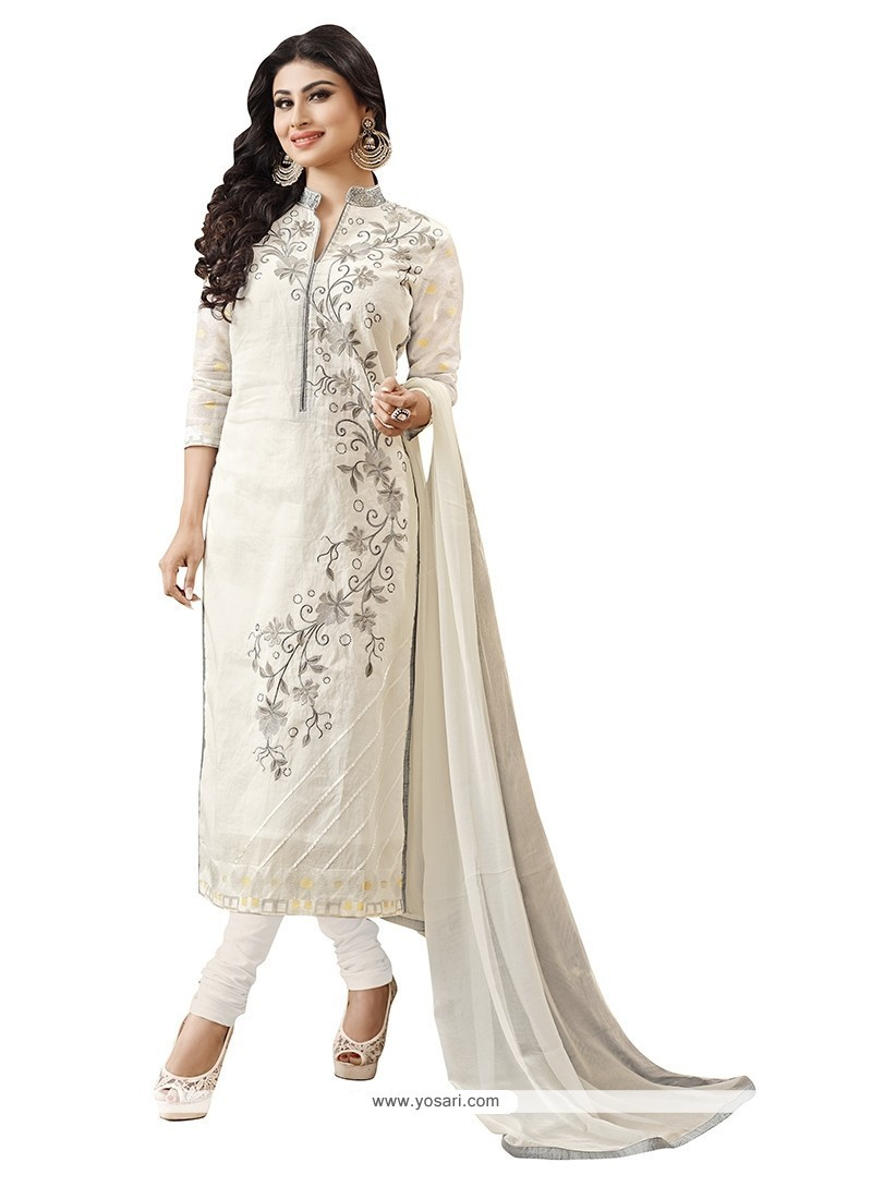 Awesome Embroidered Work Off White Churidar Designer Suit