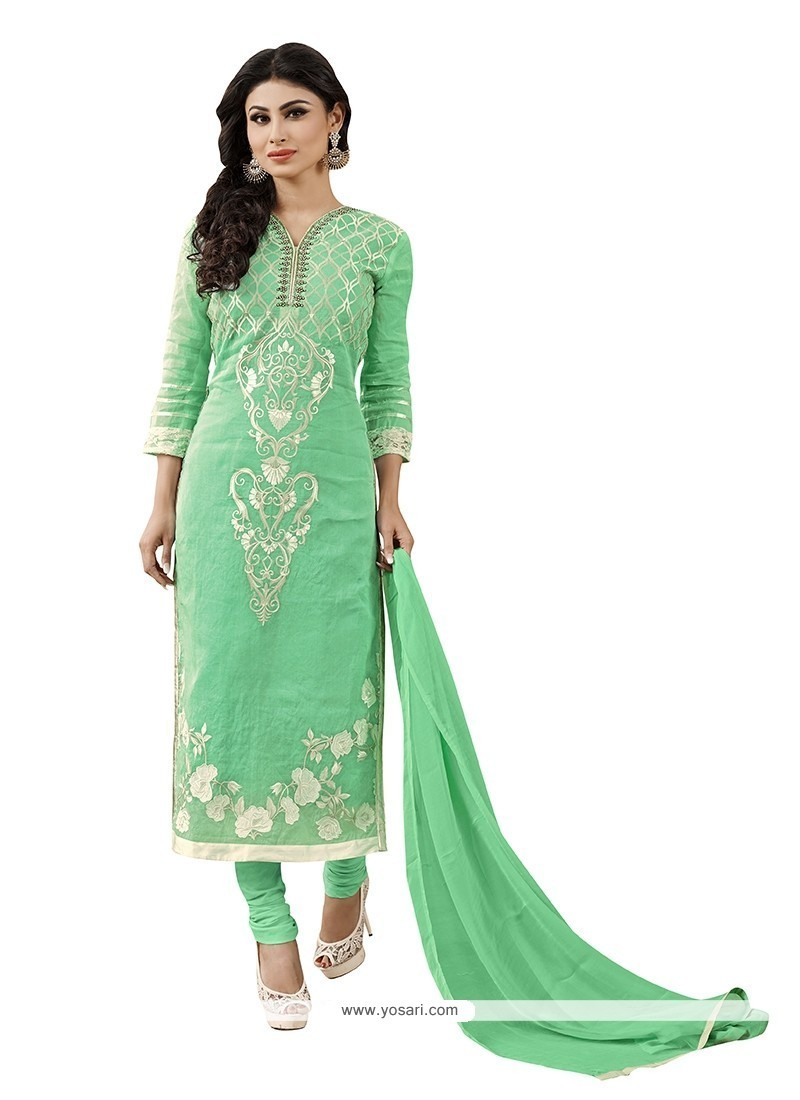 Shop online buy innovative fancy fabric sea green churidar for Online suit builder