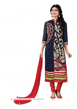 Modest Embroidered Work Navy Blue Fancy Fabric Churidar Designer Suit