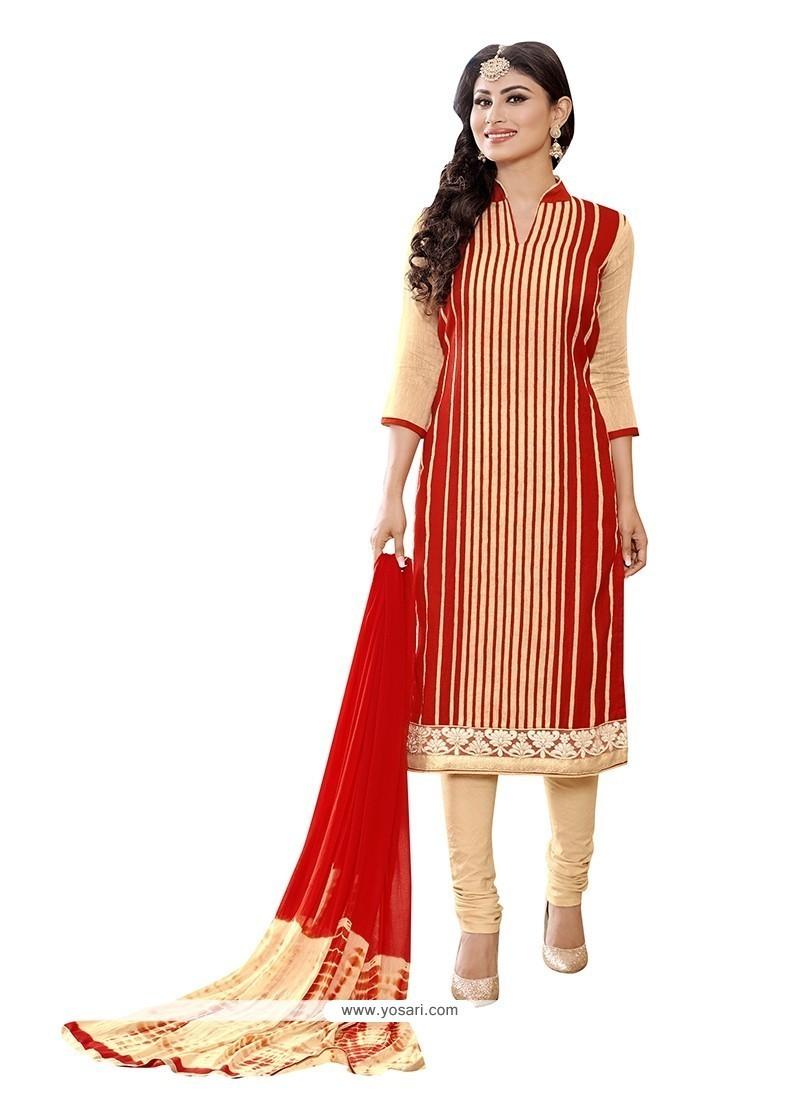 Sightly Red Embroidered Work Churidar Designer Suit