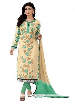 Engrossing Embroidered Work Beige Fancy Fabric Churidar Designer Suit