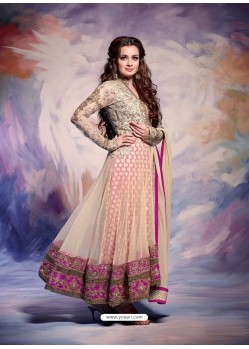 Dia Mirza Cream Premium Net Anarkali Suit