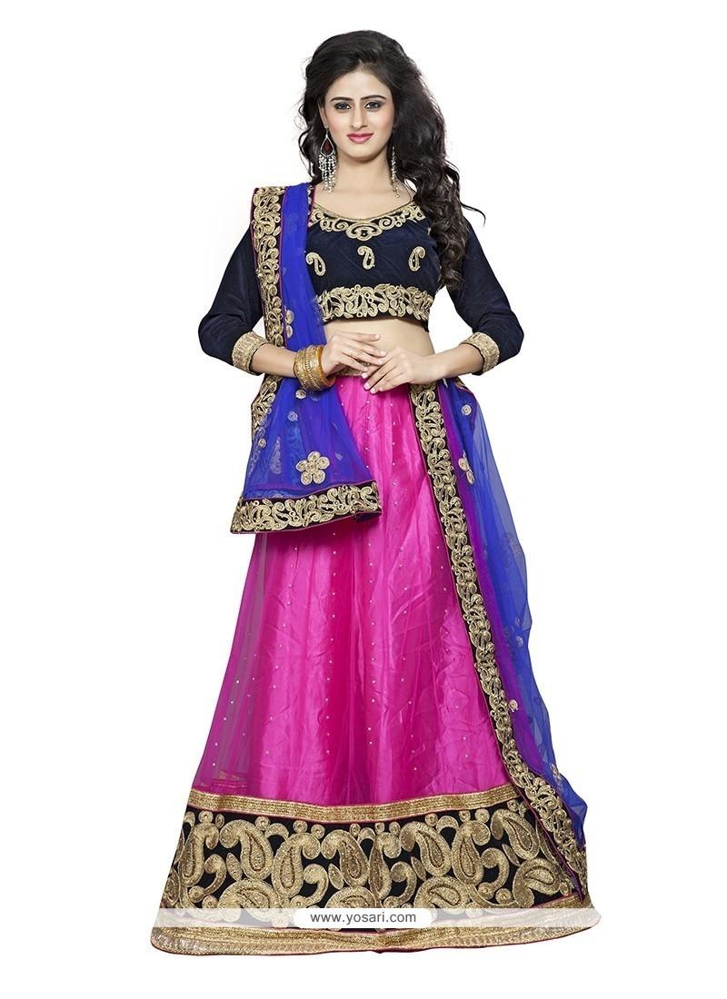 Splendid Hot Pink Net A Line Lehenga Choli