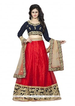 Brilliant Net Red A Line Lehenga Choli