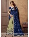 Trendy Navy Blue Embroidered Work Designer Saree