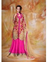 Dia Mirza Pink heavy Embroidered Jacket Style Lehenga