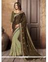 Patch Border Brasso Georgette Designer Saree In Green