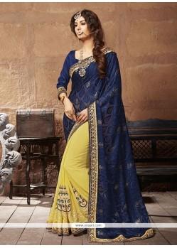 Captivating Yellow Patch Border Work Designer Saree