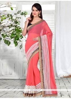 Prime Brasso Georgette Pink Patch Border Work Designer Saree