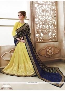 Attractive Yellow Designer Saree
