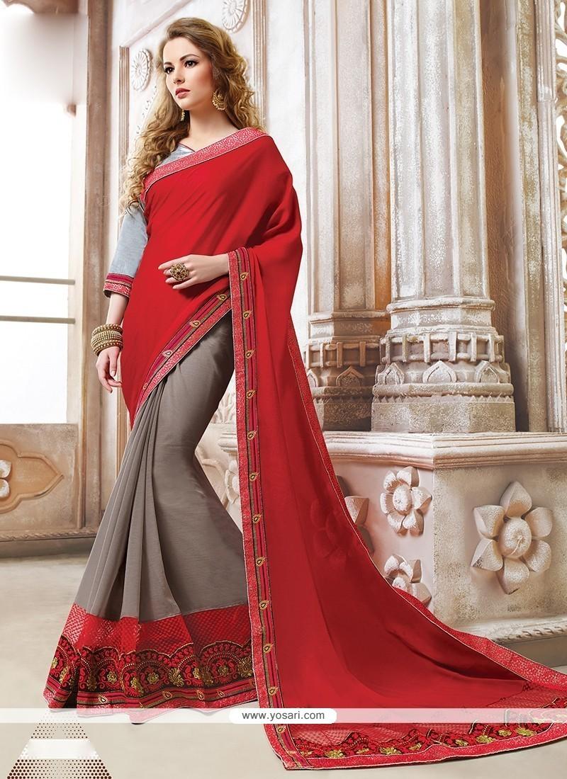 Prime Georgette Red Designer Saree