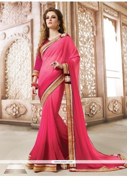 Sightly Hot Pink Designer Saree
