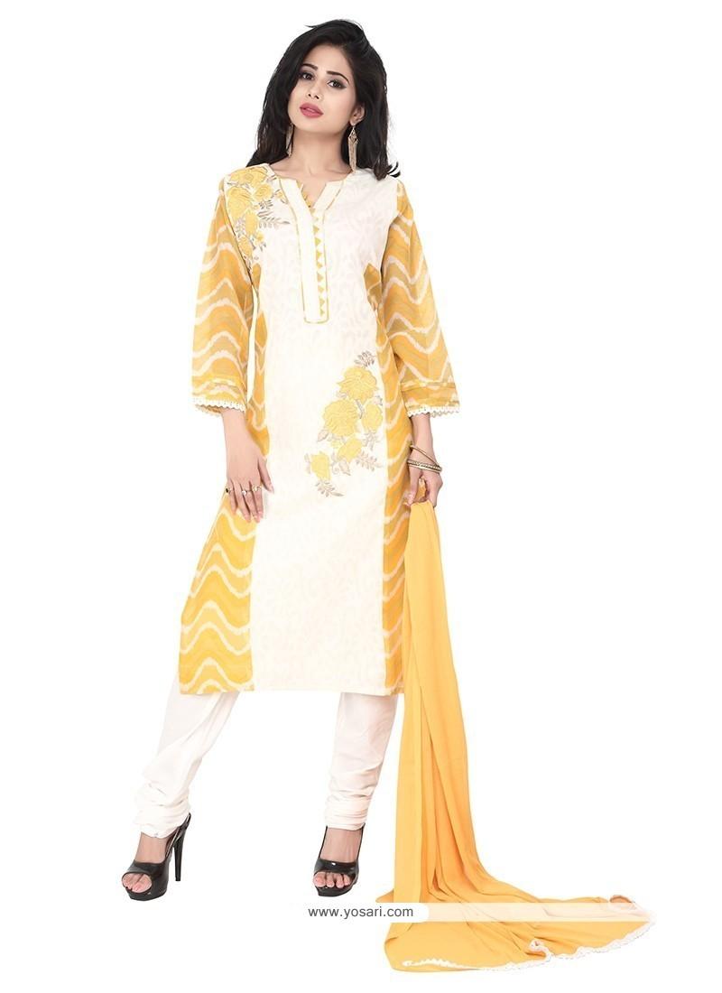Beauteous Cotton Cream Designer Suit