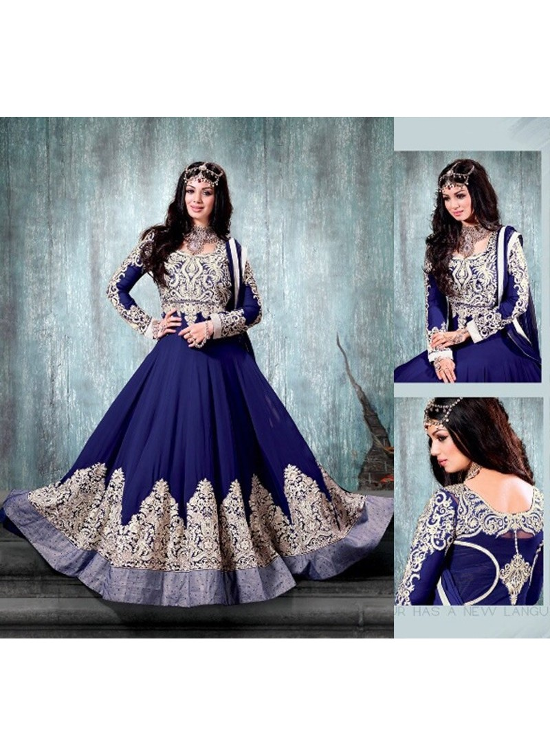 Ayesha Takia Blue Georgette Anarkali Suit