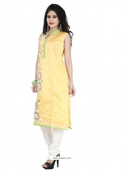 Girlish Embroidered Work Chanderi Yellow Designer Suit